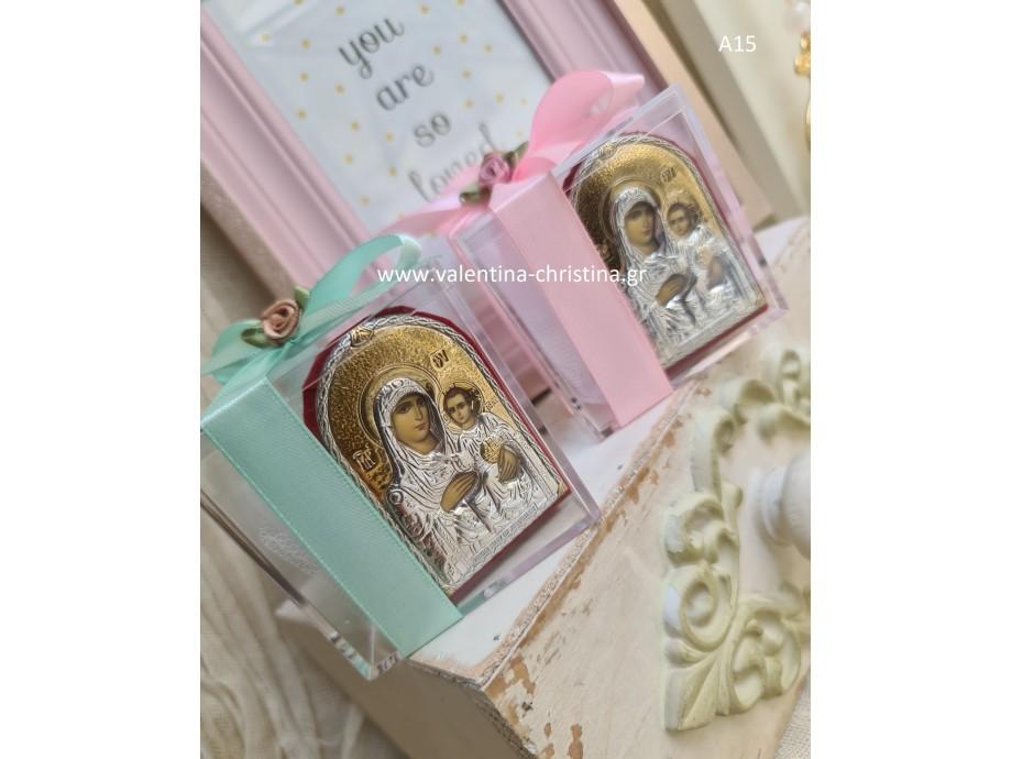 Μπομπονιέρες βάπτισης ασημένια εικόνα με κουτί