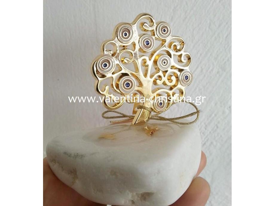 Μεταλλικό δέντρο της ζωής χρυσό με πέτρα