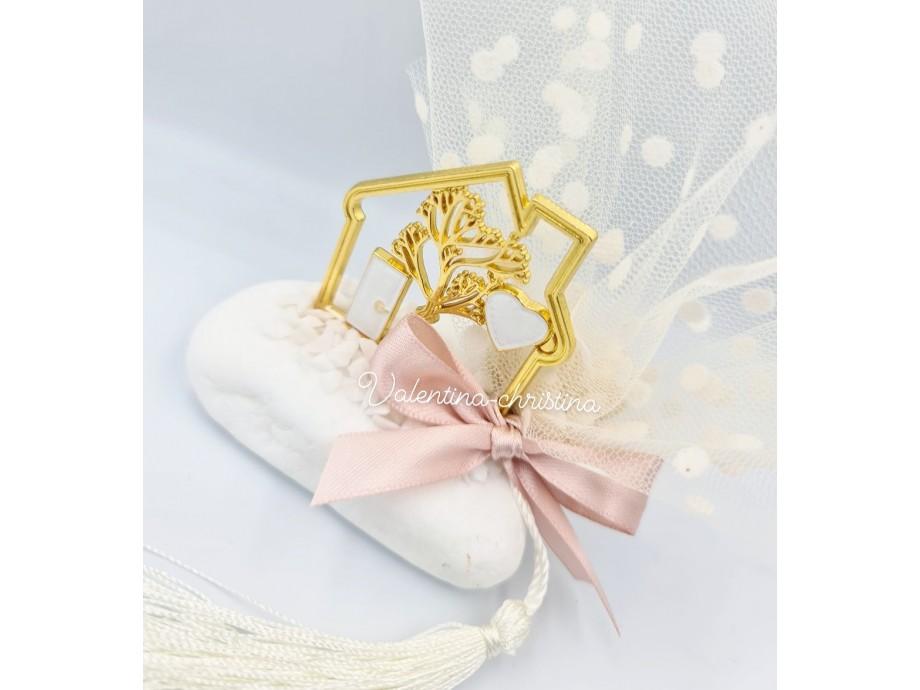 Μπομπονιέρα γάμου μεταλλικό σπιτάκι άσπρο