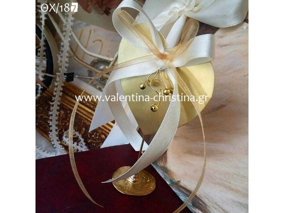 Μπομπονιέρα γάμου μεταλλική καρδιά με βάση