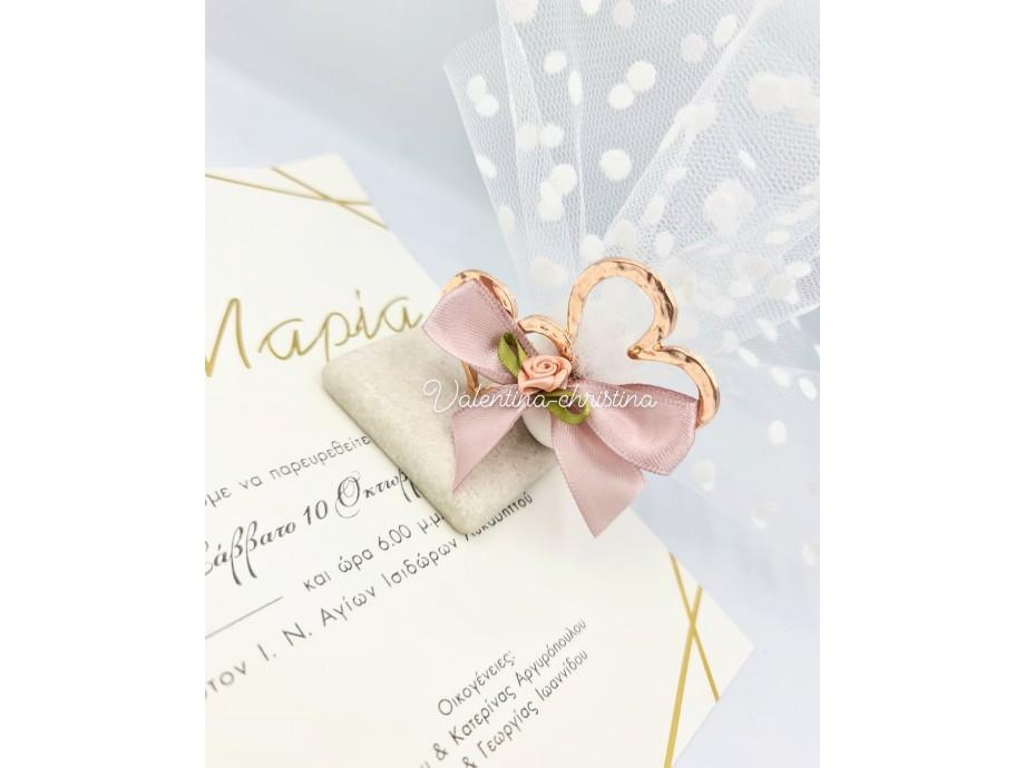 Μπομπονιέρα καρδούλες ροζ χρυσό
