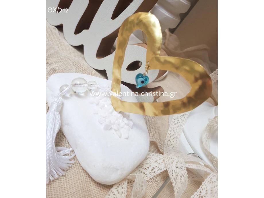 Μπομπονιέρα γάμου μεταλλική καρδιά πάνω σε πέτρα