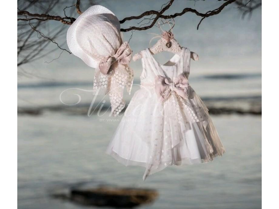 Βαπτιστικό ρούχο για κορίτσι μεσάτο ασύμετρο τούλι