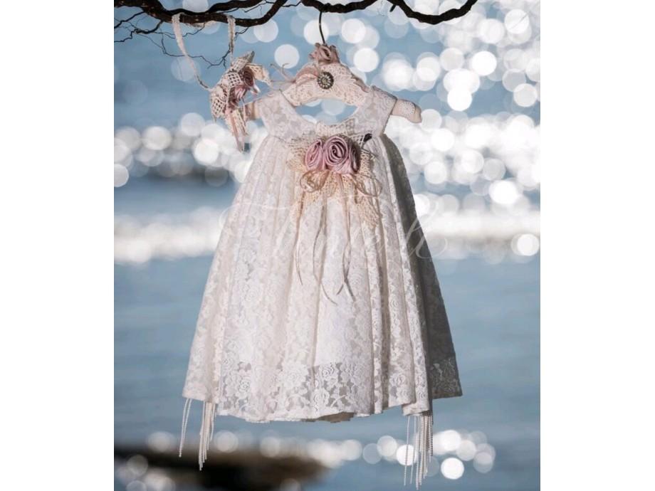 Βαπτιστικό ρούχο κορίτσι φόρεμα αμπίρ με δαντέλα