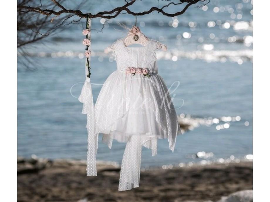 Βαπτιστικά ρούχα για κορίτσι μεσάτο φόρεμα ασύμετρο