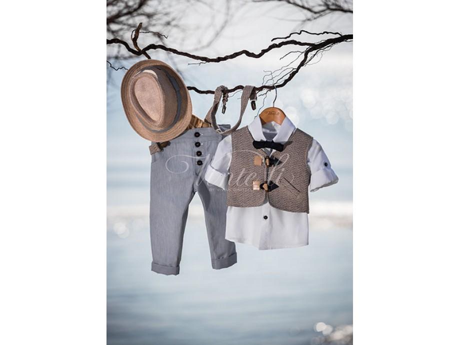 Βάπτιστικά ρούχα αγόρι με γκρί γιλέκο