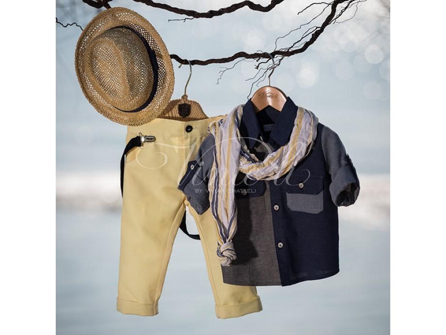 Βαπτιστικό ρούχο με μπλέ πουκάμισο λεμονί παντελόνι