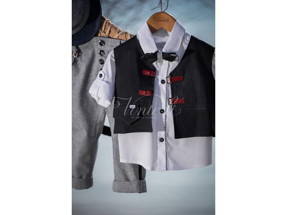 Βαπτιστικά ρούχα αγόρι γιλέκο λευκό πουκάμισο