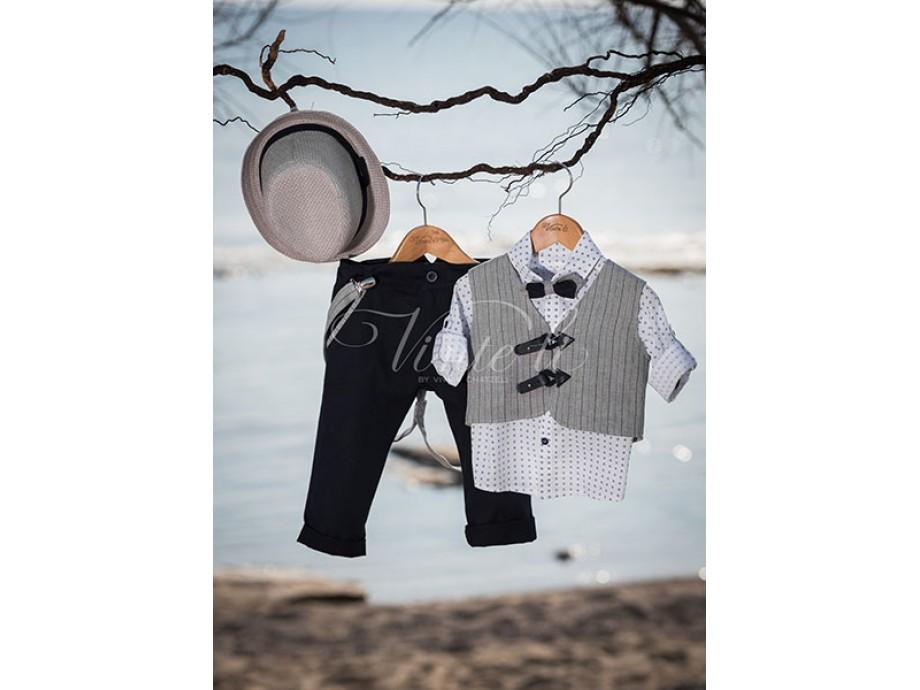 Βαπτιστικά ρούχα για αγοράκι γκρί γιλέκο