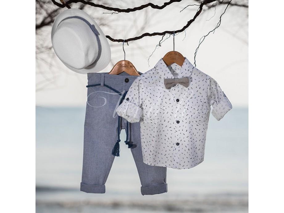 Βαπτιστικά ρούχα αγοράκι σιέλ παντελόνι