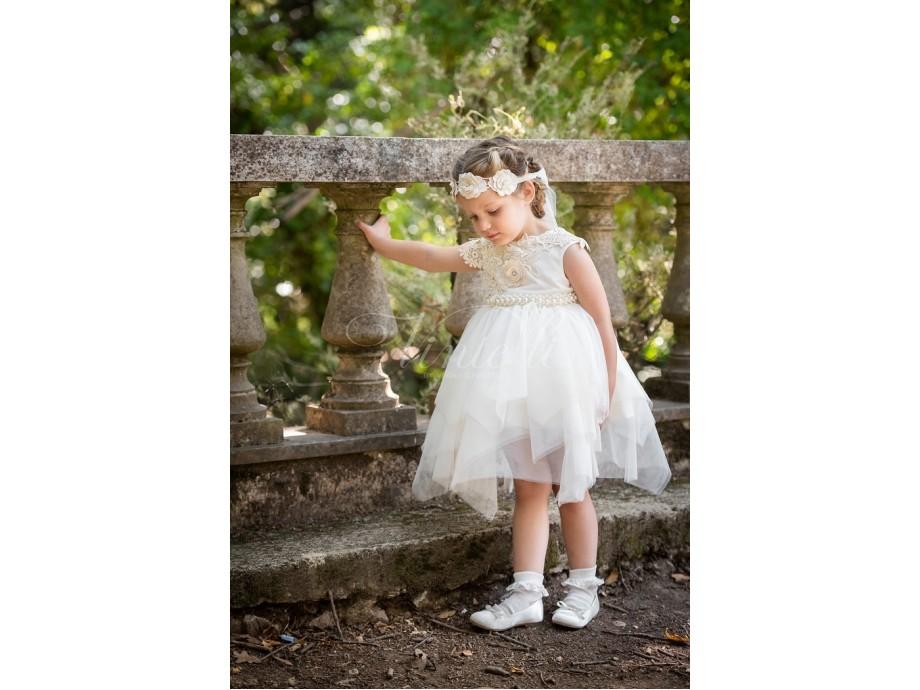 Φόρεμα μεσάτο με λεπτομέρειες βαμβακερής δαντέλας και πέρλες