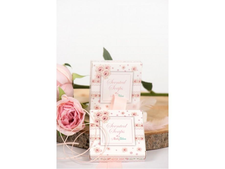 Μπομπονιέρες βάπτισης σαπουνάκι μέσα στο κουτί με παχύφυτα ροζ-βεραμάν