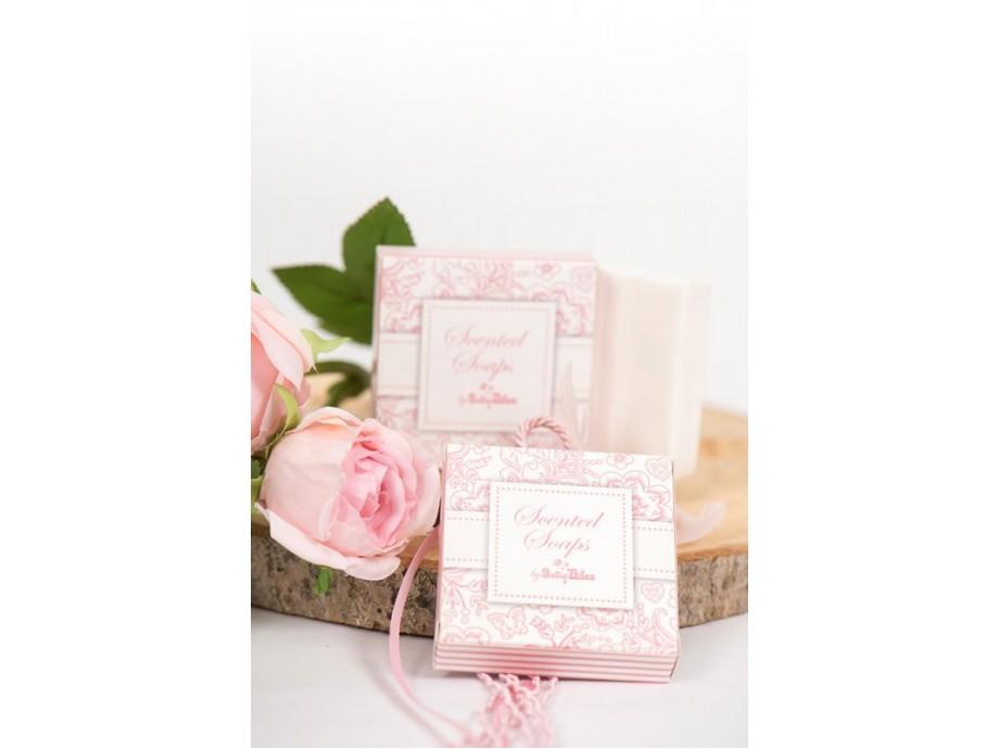 Μπομπονιέρες βάπτισης σαπουνάκι μέσα στο κουτί elegantροζ σιέλ