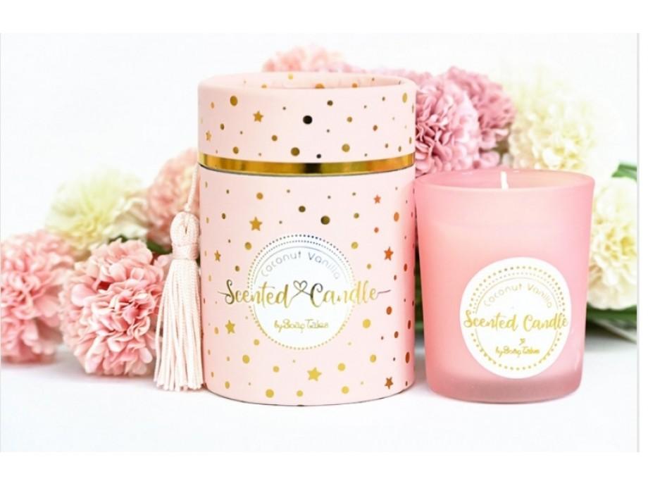 Μπομπονιέρα βάπτισης αρωματικό κερί σε ροζ κουτί