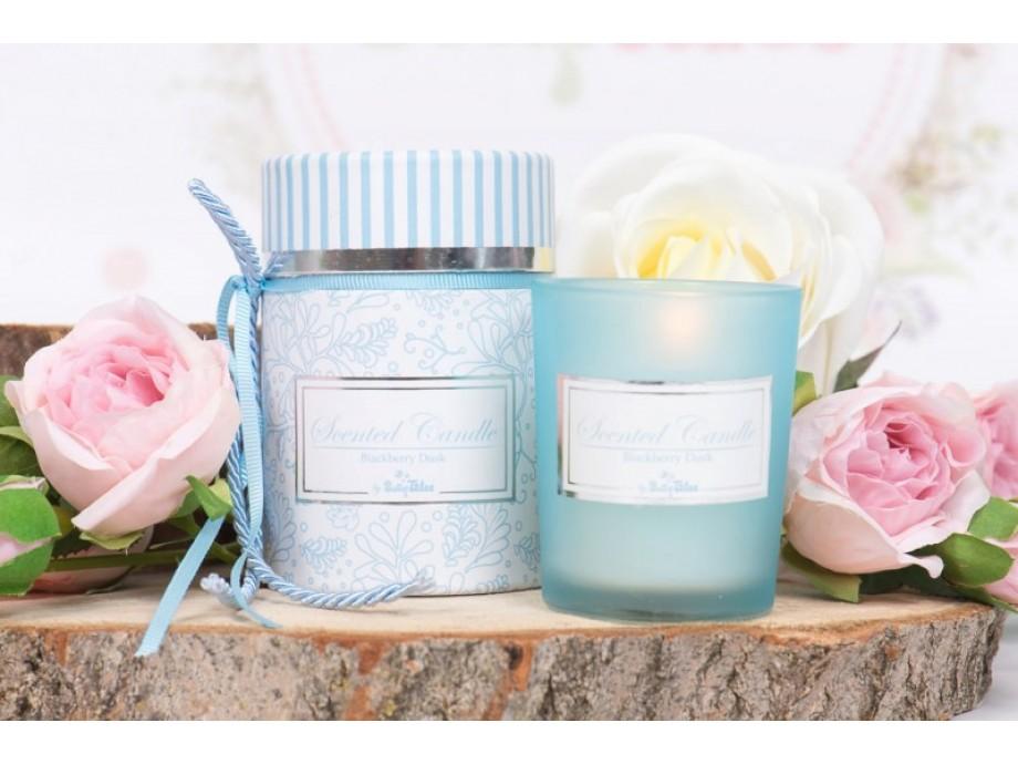 Μπομπονιέρα βάπτισης αρωματικό κερί σιέλ κουτί
