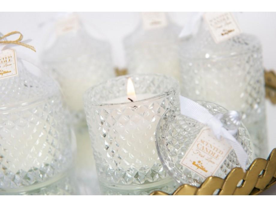 Μπομπονιέρα βάπτισης αρωματικό κερι γυάλινη φοντανιέρα Fresh Linen