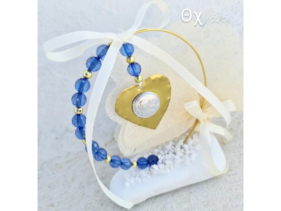 μπομπονιέρες  ονειροπαγίδα με μπλε χάντρες και εικόνα της Παναγίας