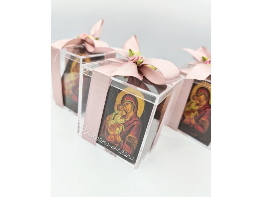 Μπομπονιέρες βάπτισης ξύλινη εικόνα Παναγίας σε κουτί