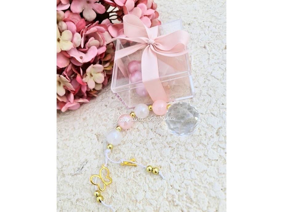 Χειροποίητες μπομπονιέρες βάπτισης κορίτσι κρύσταλλο ροζ παλ χάντρα